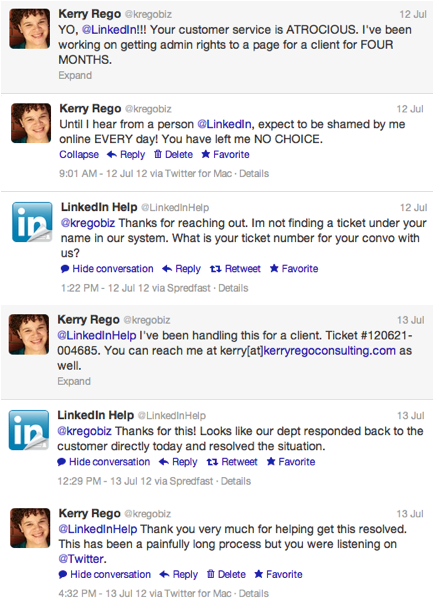 Full LinkedIn Twitter Support Conversation