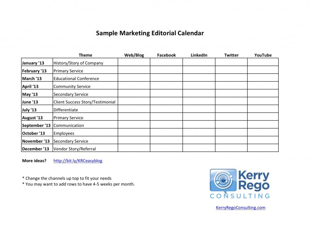 Kerry Rego Consulting Sample Editorial Calendar image