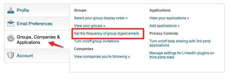 LinkedIn Main Settings Group Digest Emails