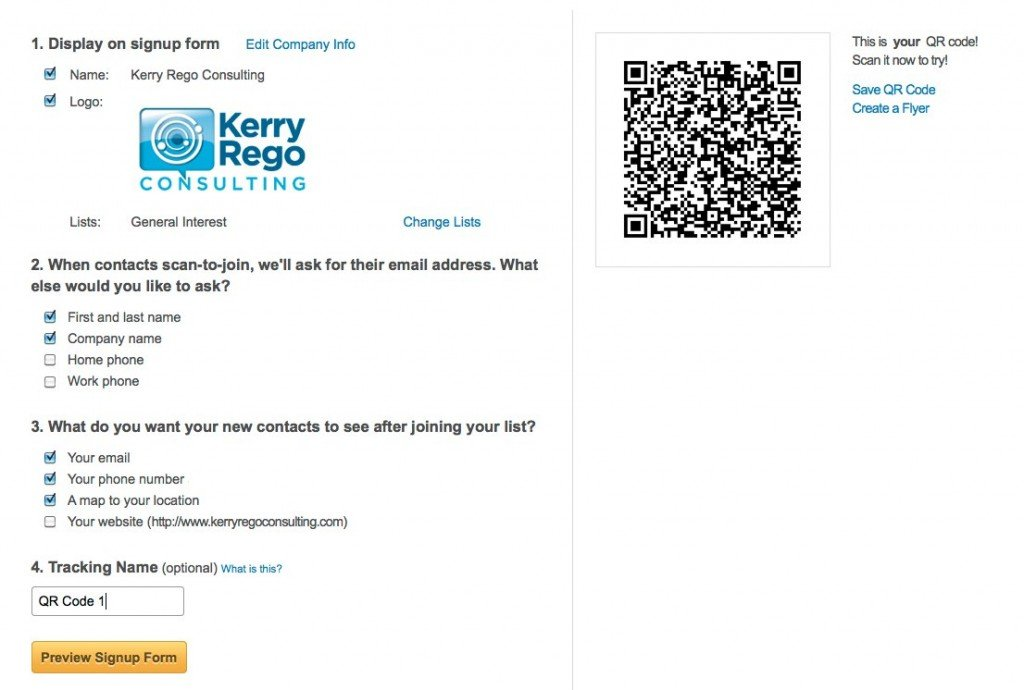 Demonstration of Constant Contact QR Code to Join Process