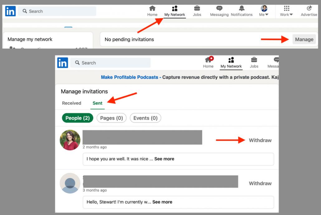 linkedin invitations screenshot