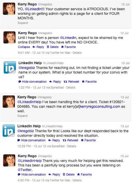 Full LinkedIn Twitter Support Conversation