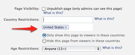 Facebook Manage Permissions Country Setting