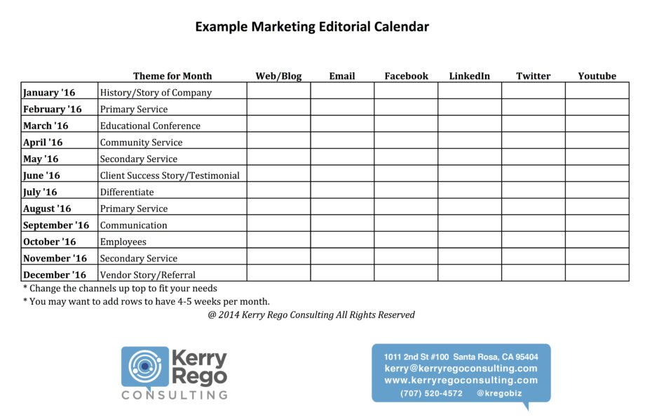 Kerry Rego Consulting Editorial Calendar