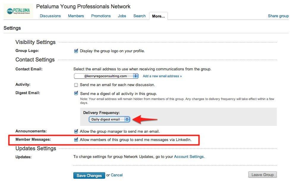 LinkedIn Group Settings
