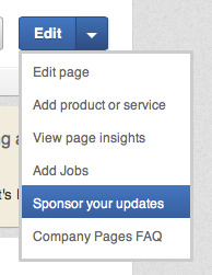 LinkedIn sponsor menu