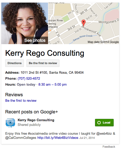 Kerry Rego Consulting Google Listing