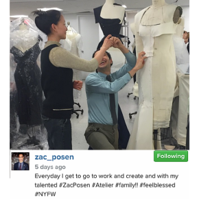 Instagram Zac Posen behind the scenes