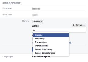 Gender Options on Facebook