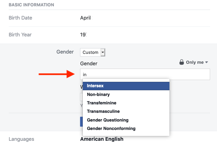 change your gender on Facebook menu
