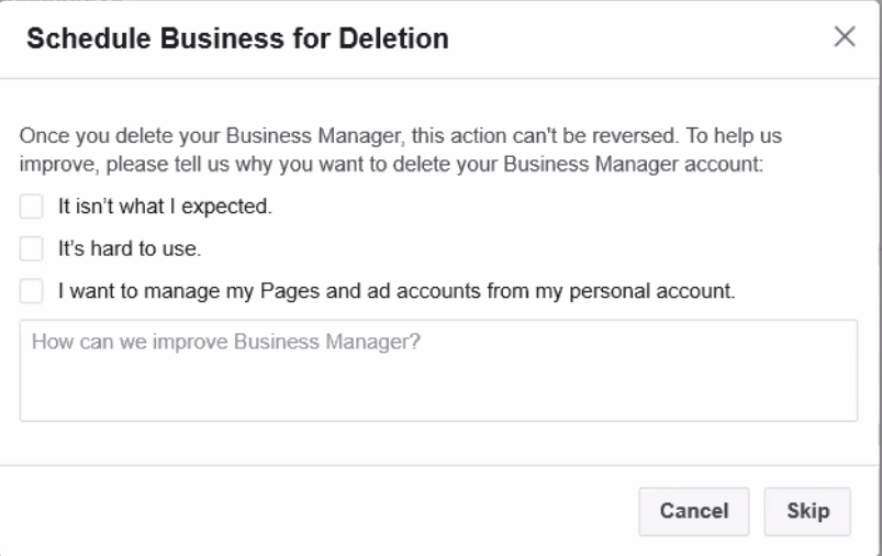 FB Biz Manager Deletion