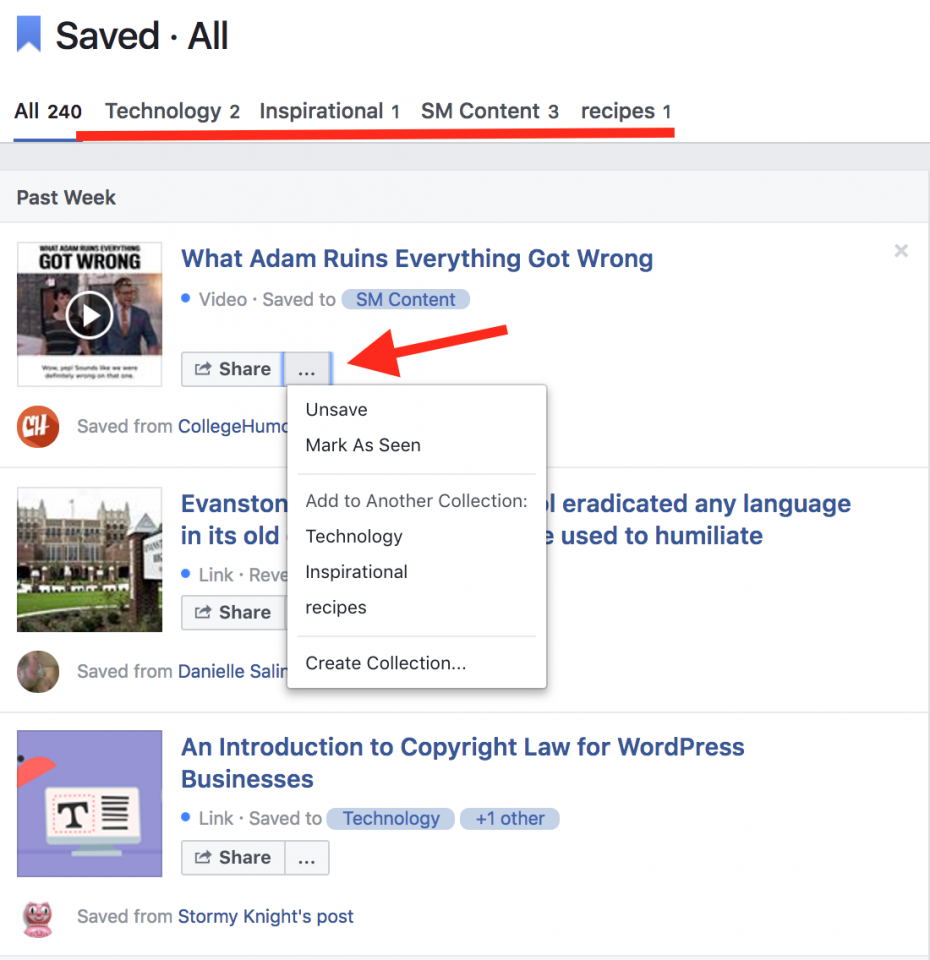 Saved Section Facebook