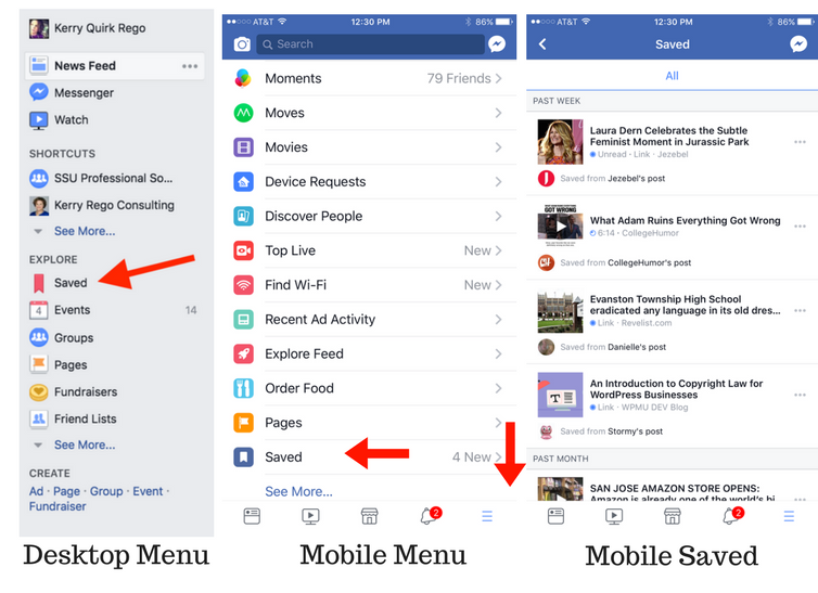 Save Content on Facebook