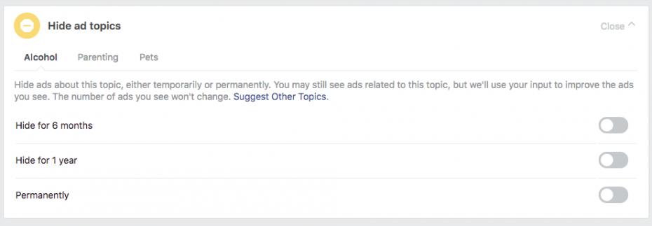 Hide ad topics