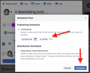 how to schedule a facebook post image 2