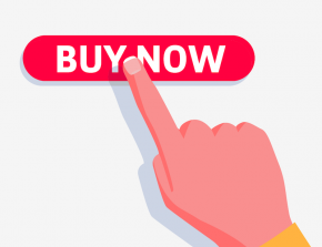 hand touching buy now button point of conversion