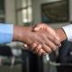 shaking hands customer